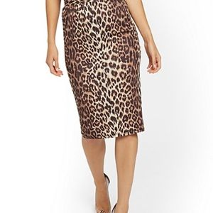 New York & Company Leopard Print Pencil Slit Skirt